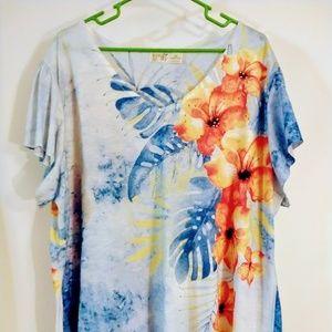 Terra & Sky 2x embellished shirt floral